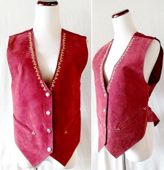 Vintage Maroon Leather Studded Vest. Small