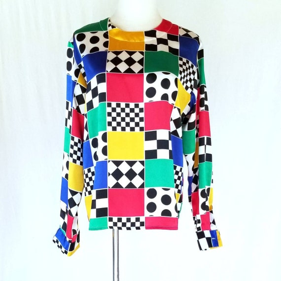 Vintage SLB Sunny Leigh Red Yellow Blue Geometric