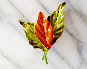 Vintage Green and Orange Tri Leaf Brooch