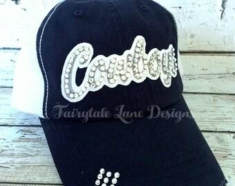 1701cf26b77 COWBOYS Bling Hat - Distressed Trucker Cap- Cowboys Football - Swarovski  Rhinestones