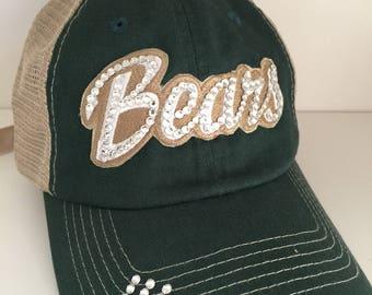 fbbea5f48 BAYLOR Bling Hat - Distressed Trucker Cap- Bears Football - Swarovski  Rhinestones