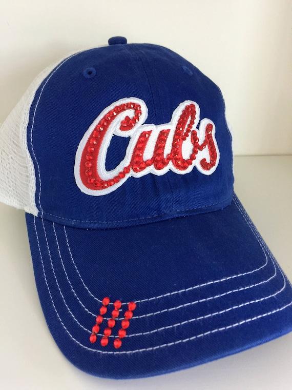 CUBS Bling Hat Distressed Trucker Cap Cubs Baseball  94884a20e36