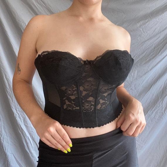 Vintage Black Lace Low-Back Corset - image 1