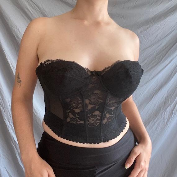 Vintage Black Lace Low-Back Corset - image 4