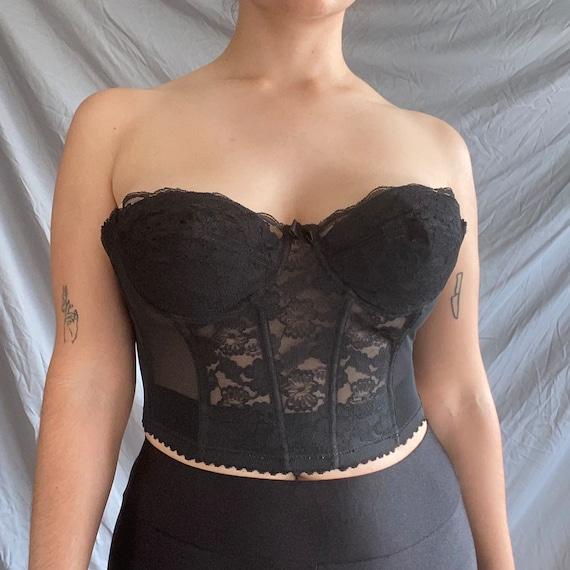 Vintage Black Lace Low-Back Corset - image 2