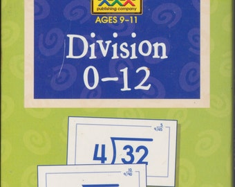 Vintage Childrens Flashcards- Mathematics Division activities: ages 9 - 11 years