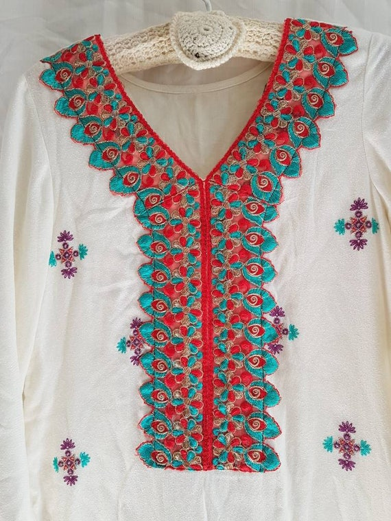 Vintage Indian cotton overdress with embroidery an