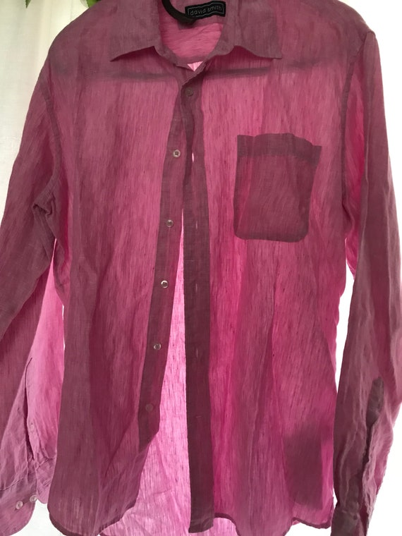 Mens linen button shirt- pink loose summer light