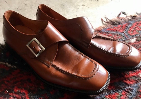Silver Buckle Shoes- brown leather size 41 made in