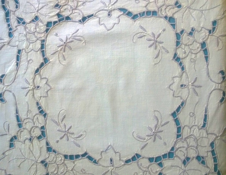 Vintage Linen Antique Cream Square embroidered tablecloth