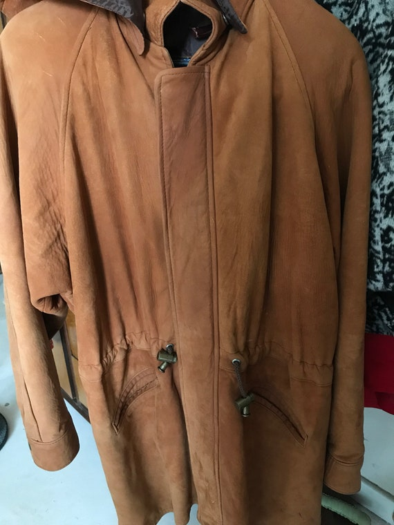 Vintage suede long jacket - 1970s orange tone leat