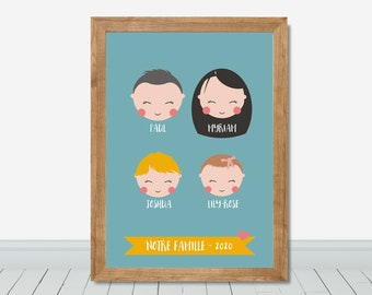 Father day custom gift, Personalized grand father gift idea, Custom family portraits, Family members and pets portrait