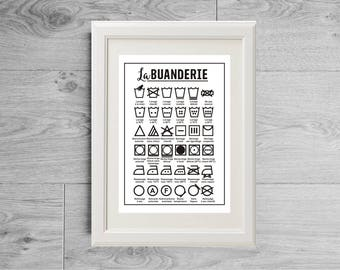 Washing print, Washing symbols print, Washing poster, Washing symbols poster, Washing wall art, Washing room decor, Washing guide print