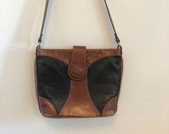 96d2c9edda 80s brown and black leather satchel purse
