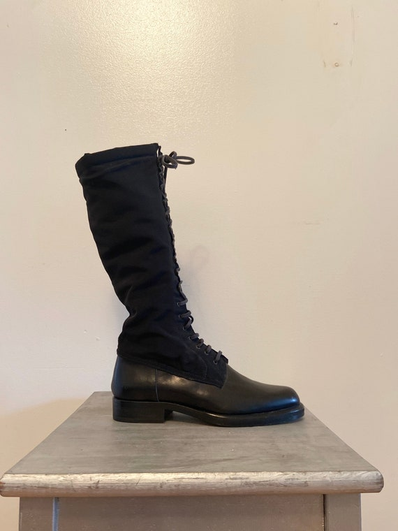 90s leather lace-up sock boot, knee high riding bo