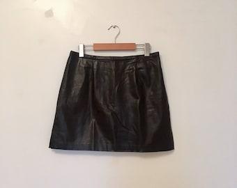 90s black leather miniskirt, mod mini A-line skirt with slits, medium - vintage -