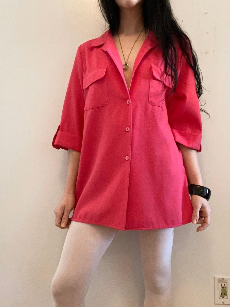 medium bright button-up t-shirt oversized dress vintage - 90s fuchsia pink blouson dress shirt slouchy fushia top