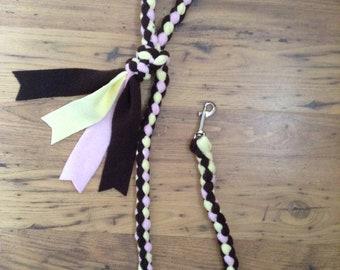 Braided Fleece Dog Lead Plaited Dog Leash Small Medium Large Dogs Black Lemon Baby Pink