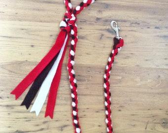 Braid Fleece Dog Lead Plaited Dog Leash Small Medium Large Dogs Red Brown & White Braided