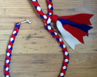 Braided Fleece Dog Lead Plaited Small Medium Large Dogs Red White and Blue Luxury Dog Leash