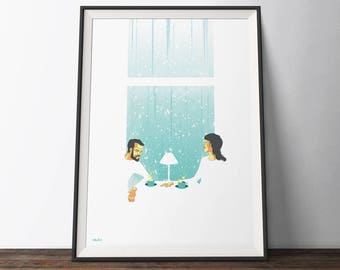 Coffee Shop Poster - White, Blue and Yellow 'Bad Snow Day' Movie Art Poster. Minimalist Illustration Art Print.