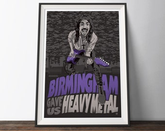 Birmingham Metal Music Poster - Black, Grey and Purple Vintage Style Heavy Metal Travel Music Movie Poster. The Perfect Poster Gift for Him.