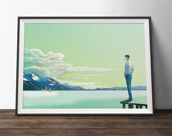 Travel Art Poster - Blue, Green and Yellow Art Print - 'Taking a Moment'. Mountains and Lake Art Print Poster.