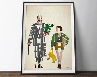 Leon Mathilda Movie Poster - Typography Quote Film Art Print. Leon the Professional word art geek gift for Him or Her
