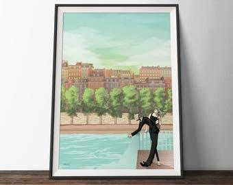 Before Sunset Film Poster - Paris, France travel inspired Movie Art Poster - 'Before Paris'. Film Illustration Art Print Poster.