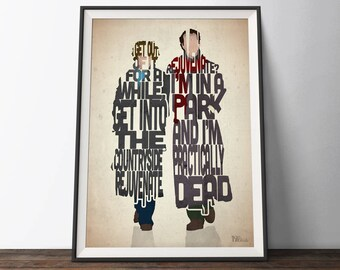 Withnail and I Movie Poster - Typography Quote Film Art Print. Withnail and Marwood word art geek gift for Him or Her