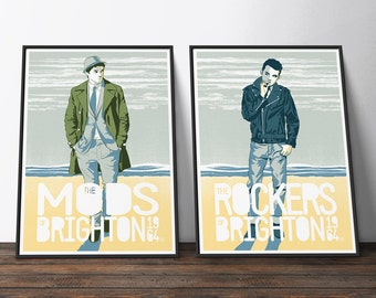 Brighton Mods vs Rockers Music Poster Set - Yellow, White and Blue Vintage Style Travel Music Movie Posters. The Perfect Music Gift for Him.