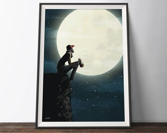 Moon and Space Art Poster - Blue Yellow Art Print - 'The Man and the Moon'. Illustrated Man, Mountains and Stars Art Print Poster.