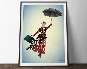 Mary Poppins Movie Poster - Typography Quote Film Art Print. Mary Poppins inspirational word art gift for Him or Her