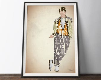 Ferris Bueller Movie Poster - Typography Quote Film Art Print. Ferris Bueller's Day Off 80s word art geek gift for Him or Her