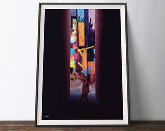 Blade Runner Inspired Poster - Black, Orange and Yellow 'Neon City' Movie Art Poster. Film Illustration Art Print.