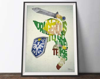 Legend of Zelda game Poster - Typography Quote Film Art Print. Link gaming word art geek gift for Him or Her