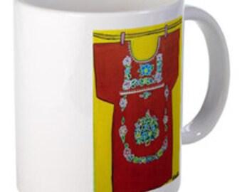 Coffee Mug - Girl's Dress #1 - 15 oz.-By Artist A.V.Apostle