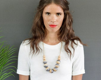 simple necklace // dip dyed // navy