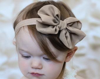U CHOOSE COLOR Chiffon hair bow Headband Shabby Chic vintage fabric know bow baby headband