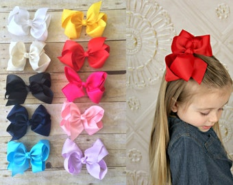 "SET of 10 6"" Bows, Big grosgrain hair bows clips, Large pack of girls hairbows"