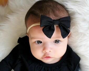 Black Nylon bow, headband set 1 size fits all, comfy baby newborn girls hair, bow