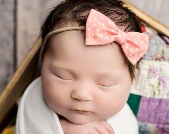 Dainty Peach Pink dot Nylon bow, headband set 1 size fits all, comfy baby newborn girls hair