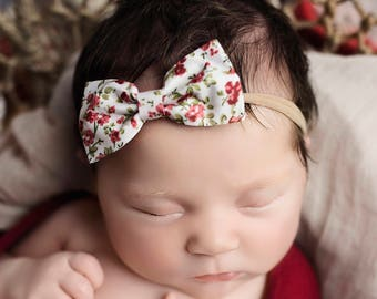 Dainty Floral Nylon bow, headband set 1 size fits all, comfy baby newborn girls hair