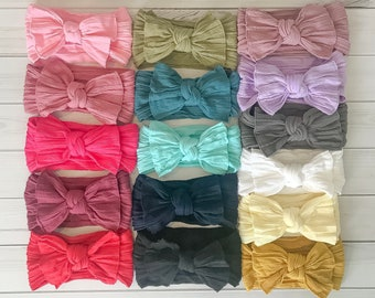 SET of (8) Cable Knit Head wraps Bows Fabric cotton Nylon headbands, Large pack of girls hairwraps turbans pink white red black Gray yellow