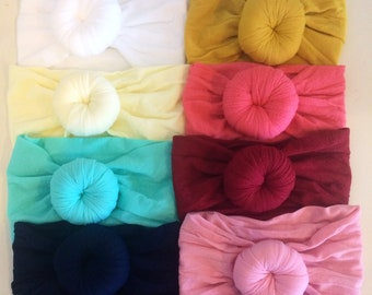 SET of (10) TURBANS Head wraps Bows, Fabric cotton knot headbands, Large pack of girls hairwraps  pink aqua ivory nylon