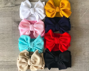 """U CHOOSE Head wraps 5.5"""" Big Bows, Fabric cotton Nylon headbands, Pack of girls and baby headwraps, Pink, Beige, Navy Blue, Cream"""