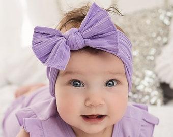 Newborn Headband Baby Photoprop Baby Girl Bow Headband Baby Headwrap Easter Baby Head Wrap.Pink Purple Blue Pastel Cotton Headwrap