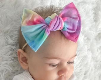 Cotton headbands { Tie dye Leopard } comfy baby newborn girls hair, nylon wraps, cotton bows
