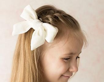 "U CHOOSE | Big Velvet 4.75"" Hair bow clip baby girl grosgrain hairbow headband toddler newborn Medium Bows"