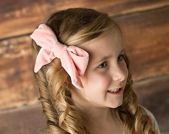 "U CHOOSE | Big Velvet 5"" Hair bow clip baby girl grosgrain hairbow headband toddler newborn Medium Bows"